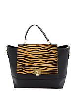 Женская сумка из натуральной кожи фабричная (отшита в Италии) черного цвета со вставками желтой зебры