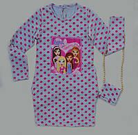 Модное детское платье-туника с Братс и  сумочкой.98-122р., фото 1