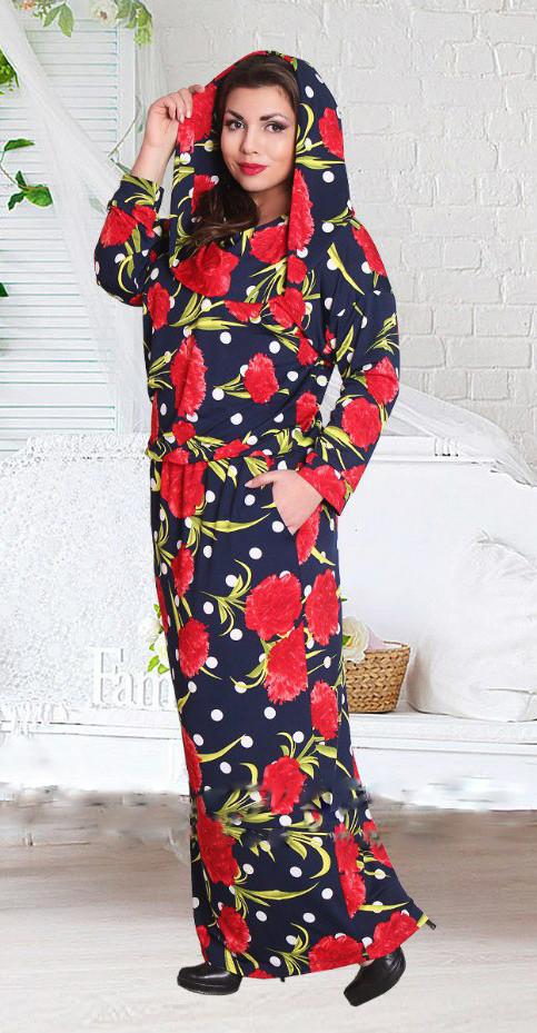 Длинное платье в яркие маки 50-60 (в расцветках)