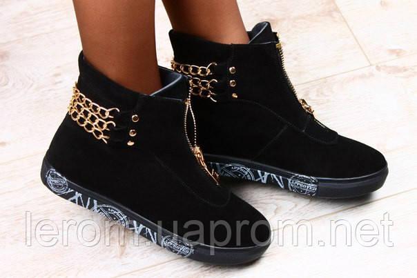 Ботинки замшевые на замке. Женские ботинки