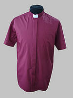 Рубашка для священников  бордового цвета с коротким рукавом
