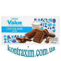 Шoколад Tesco value cocoa bar milk 100г (Польша)