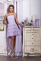 """Короткое свадебное платье из шифона с поясом из бисера """"Музыка сердца"""" amethyst"""