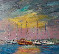 «Яхты. Болгария» картина маслом