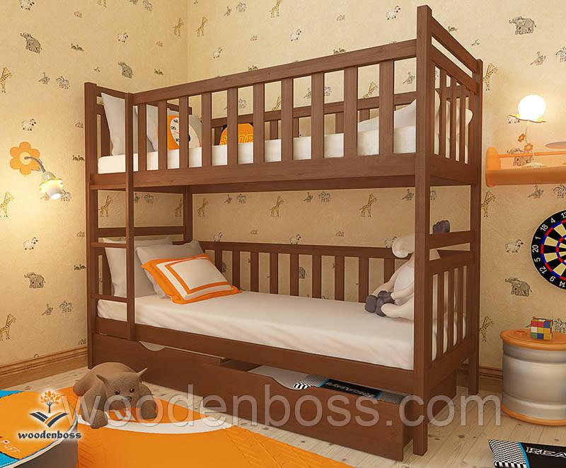 """Кровать двухъярусная детская подростковая от """"Wooden Boss"""" Александр (спальное место 70 cм х140 см)"""