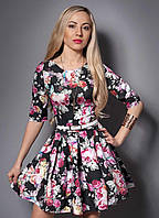 """Молодежное модное платье с тонким поясом - """"Мадонна""""  код 369"""
