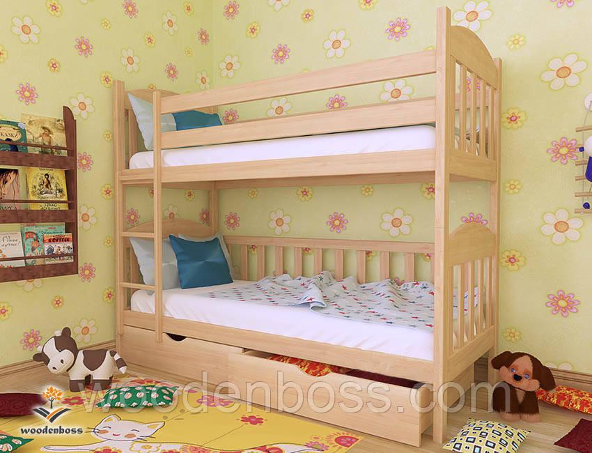 """Кровать двухъярусная  детская подростковая от """"Wooden Boss"""" Артур  (спальное место 70 см х 140 см)"""