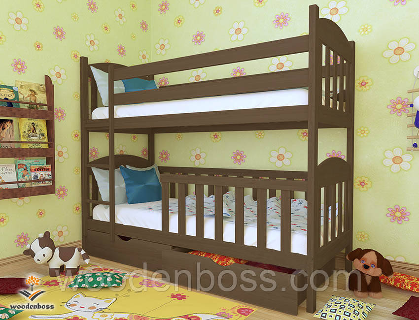 """Кровать двухъярусная  детская подростковая от """"Wooden Boss"""" Артур Плюс (спальное место 70 см х 140 см)"""