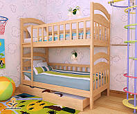 """Кровать двухъярусная детская подростковая от """"Wooden Boss"""" Даниель (спальное место 70 см х 140 см)"""