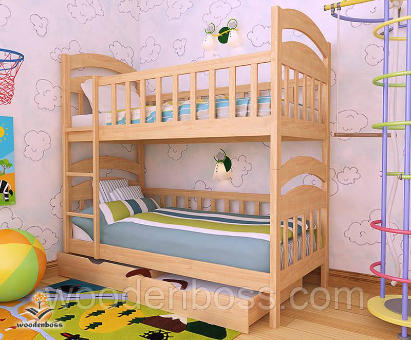 """Кровать двухъярусная  детская подростковая от """"Wooden Boss"""" Даниель  (спальное место 90 см х 190/200 см)"""