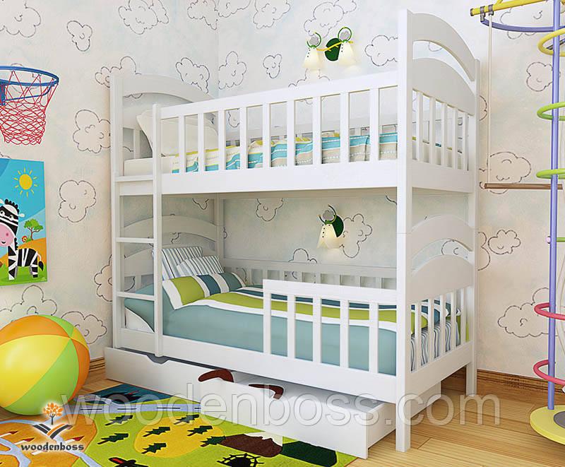 """Кровать двухъярусная  детская подростковая от """"Wooden Boss"""" Даниель Плюс(спальное место 70 см х 140 см)"""