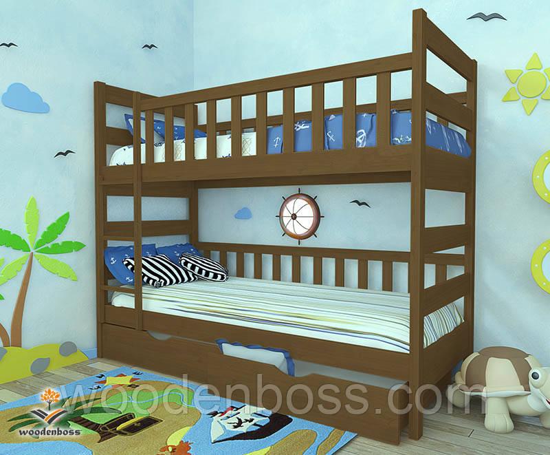 """Кровать двухъярусная  детская подростковая от """"Wooden Boss"""" Марко (спальное место 70 см х 140 см)"""