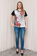 """Оригинальная женская футболка """"Роза"""". Размеры 52,54,56."""