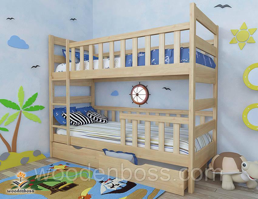 """Ліжко двоярусне дитяче підліткове від """"Wooden Boss"""" Марко Плюс (спальне місце 70 см х 140 см)"""