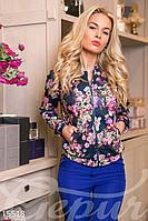 Модная короткая женская куртка на молнии с ярким цветочным принтом дайвинг