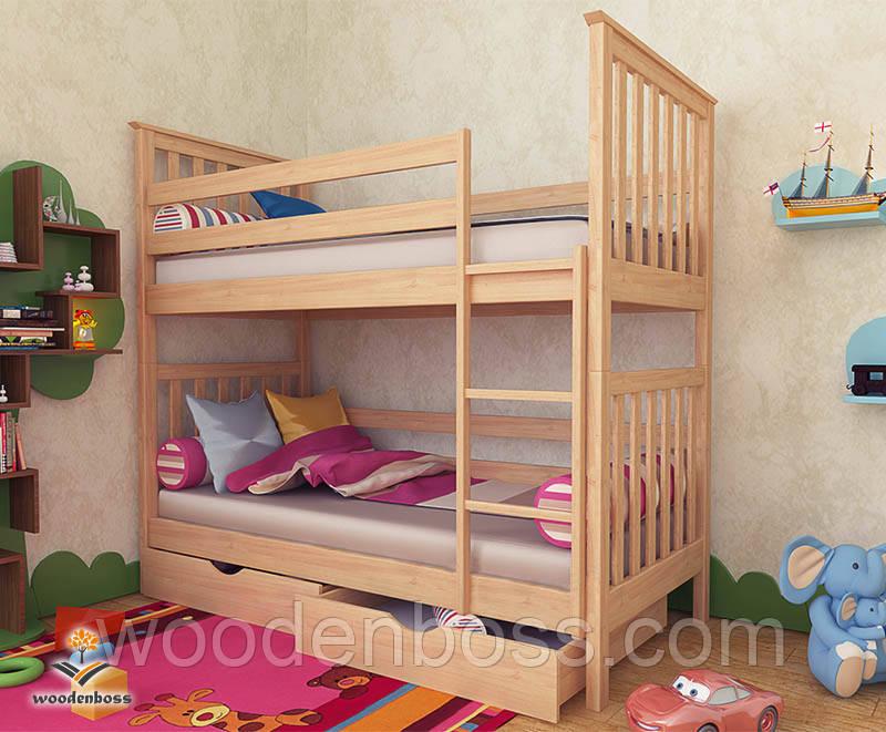 """Кровать двухъярусная  детская подростковая от """"Wooden Boss"""" Ромео  (спальное место 80 см х 190/200 см)"""