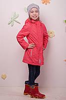 Удлиненая демисезонная куртка для девочки на флисе,Baby Line, корраловый, куртка с капюшоном