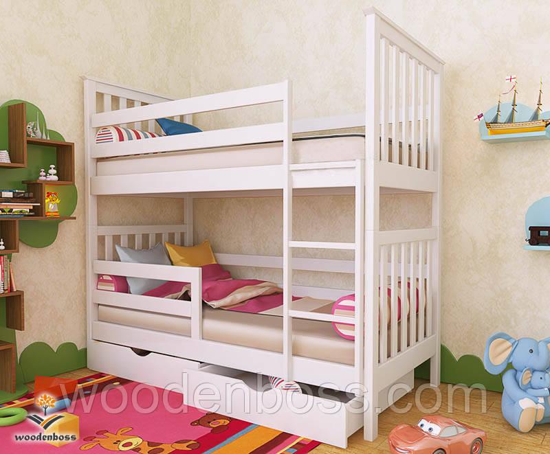 """Кровать двухъярусная  детская подростковая от """"Wooden Boss"""" Ромео Плюс (спальное место 70 см х 140 см)"""
