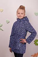 Удлиненая демисезонная куртка для девочки на флисе,Baby Line, синяя, куртка с капюшоном