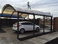 Навесы из сотового и монолитного поликарбоната для одного автомобиля или нескольких машин.