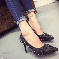 Блестящие туфли с шипами, 3 цвета