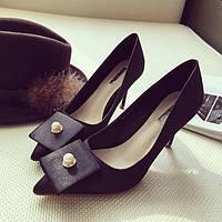 Тканевые туфли с брошью, 3 цвета, фото 1