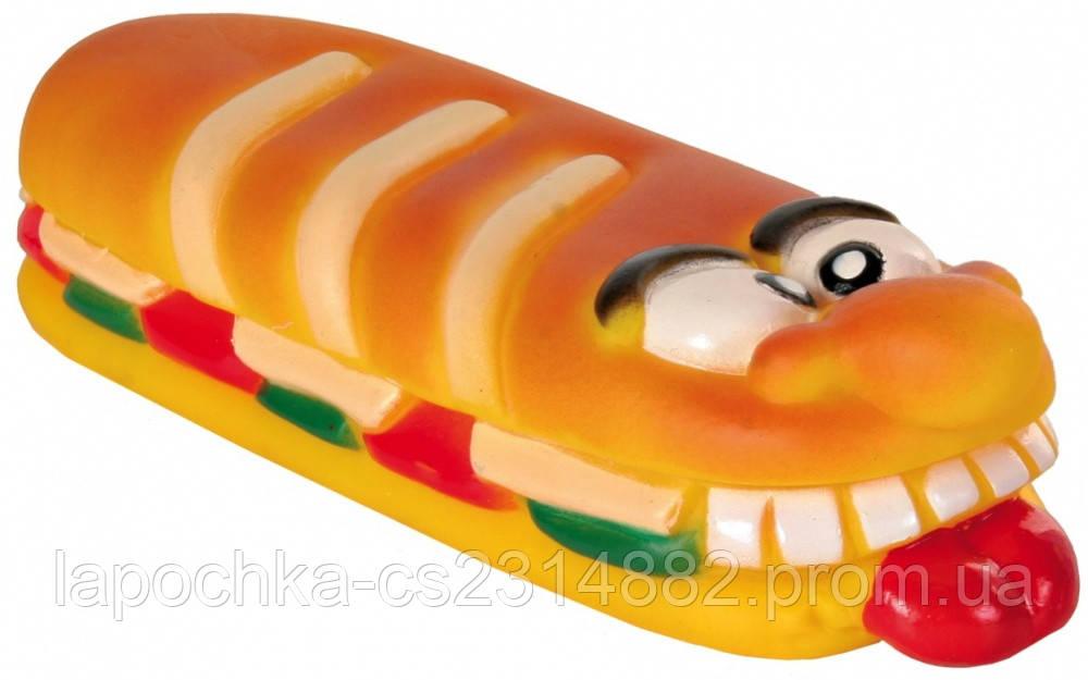 Игрушка для собак Trixie Бутерброд с пищалкой, винил 19 см