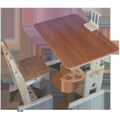 """Комплект регулируемой мебели из дерева """"Школьник"""" Парта и стул ТМ Кинд"""