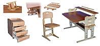 """Комплект регулируемой мебели из дерева """"Школьник плюс ЭЛИТ"""" Парта и стул ТМ Кинд"""