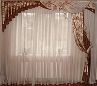 Жесткий ламбрекен стайл  коричневый с бежем, 3м, фото 1