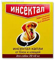Инсектал капли от блох и клещей для собак весом от 20 до 40 кг, защита до 2 мес., Экопром
