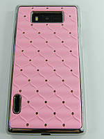 Чехол накладка Star Dust с камнями для LG L7 P700 P705, розовый пластик РАСПРОДАЖА!!!