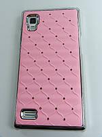 Чехол накладка Star Dust с камнями для LG L9 P760 P765 P768, розовый пластик Распродажа!!!