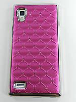 Чехол накладка Star Dust с камнями для LG L9 P760 P765 P768, малиновый пластик Распродажа!!!
