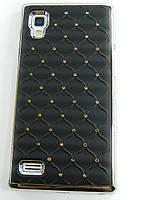 Чехол накладка Star Dust с камнями для LG L9 P760 P765 P768, черный пластик Распродажа!!!