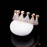 """Женское золотое кольцо """"корона"""" (фианиты)"""