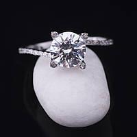 Женское серебряное кольцо с фианитами (родий)