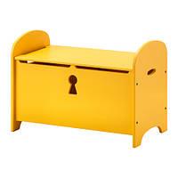 ТРУГЕН Скамья с ящиком, желтый 70x39x50 см