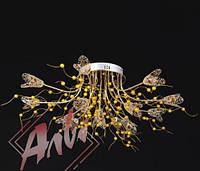 Люстра галогеновая на 13 лампочек с подсветкой и пультом управления для зала, спальни