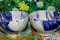 Бело-голубая керамическая пиала