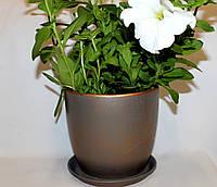 Красивые горшки для цветов Патина бронза