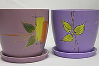 Цветочный горшок керамический рисовка лаванда