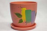Керамический вазон для комнатных растений рисовка