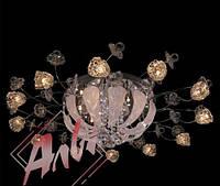 Люстра галогеновая на 18 лампочек с подсветкой и пультом управления для большой комнаты