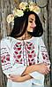 Стильная женская вышитая рубашка с рукавом 3/4 из хлопка «Дуб-калина»