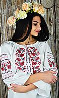 Стильная женская вышитая рубашка с рукавом 3/4 из хлопка «Дуб-калина», фото 1