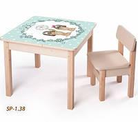 Детская стол парта для рисования с собачками + ящик