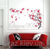 Наклейка на стену, виниловые наклейки декоративное дерево сливы (основа прозрачная) (лист50*70см)