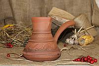 Турка из красной глины резная 0,5 л.