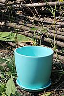 Цветочный горшок голубой глянец 0,5 л